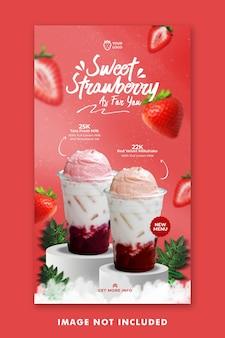 Modèle instagram de publication de médias sociaux de menu de boisson aux fraises pour la promotion de restaurant