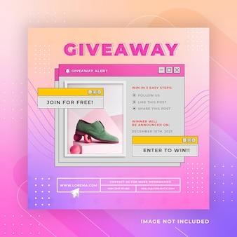 Modèle instagram de publication sur les médias sociaux pour un concours de cadeaux rétro psd premium