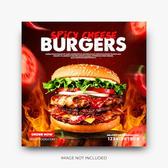 Modèle instagram de publication de médias sociaux pour la promotion du menu de délicieux burgers