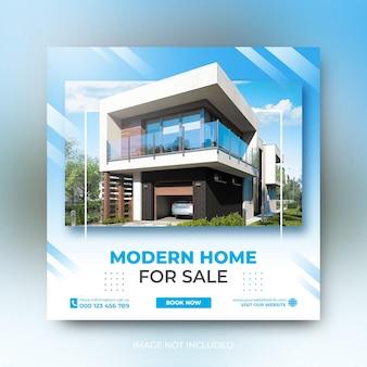 Modèle instagram de publication sur les médias sociaux pour la promotion de la vente d'une maison de luxe