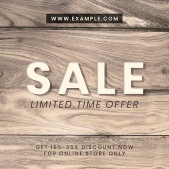 Modèle instagram texturé en bois d'annonce de vente