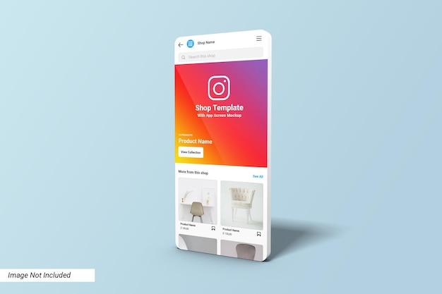 Modèle d'interface utilisateur de la boutique instagram sur la maquette de l'écran de l'application