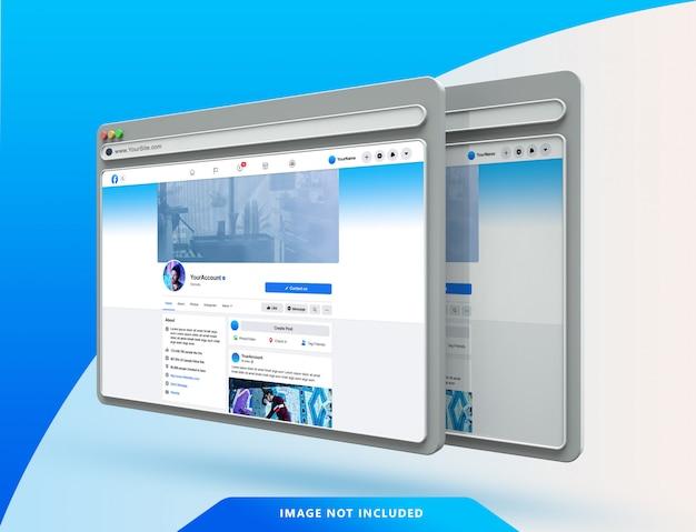 Modèle d'interface utilisateur facebook sur maquette de navigateur web 3d