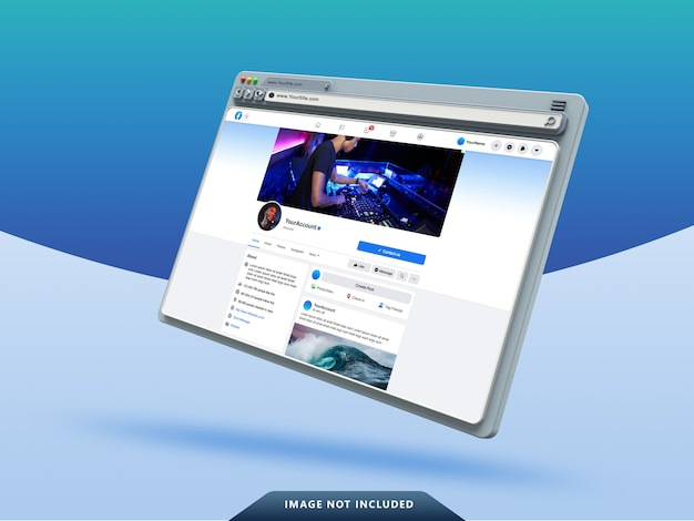 Modèle d'interface utilisateur facebook sur la maquette de navigateur web 3d