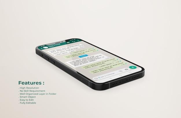 Modèle d'interface whatsapp sur la maquette de téléphone mobile