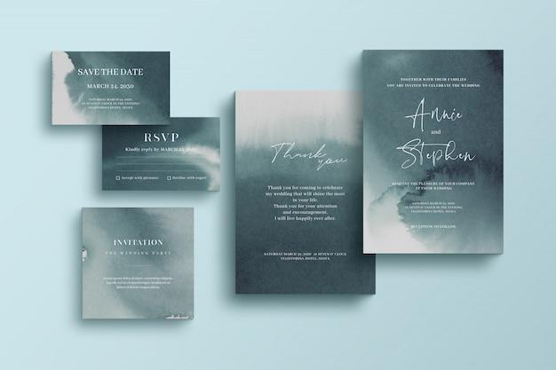 Modèle d'invitation aquarelle, ensemble de papeterie de mariage