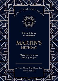 Modèle d'invitation de fête d'anniversaire psd avec style art déco doré