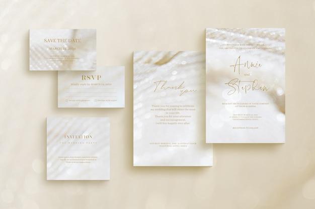 Modèle d'invitation de luxe, ensemble de papeterie de mariage