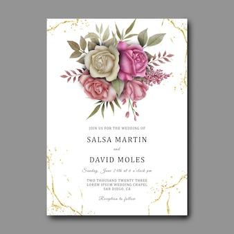 Modèle d'invitation de mariage avec un beau bouquet de fleurs aquarelle