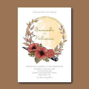 Modèle d'invitation de mariage avec cadre de bouquet de fleurs aquarelle