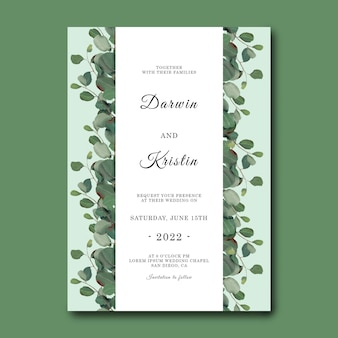 Modèle d'invitation de mariage avec cadre de feuille d'eucalyptus dessiné à la main