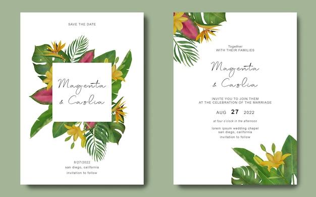 Modèle d'invitation de mariage avec cadre de feuilles tropicales