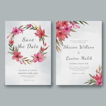 Modèle d'invitation de mariage avec cadre de fleur aquarelle et aquarelle