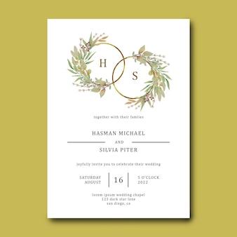 Modèle d'invitation de mariage avec cadre de fleur aquarelle