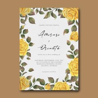 Modèle d'invitation de mariage avec cadre de fleur rose jaune aquarelle