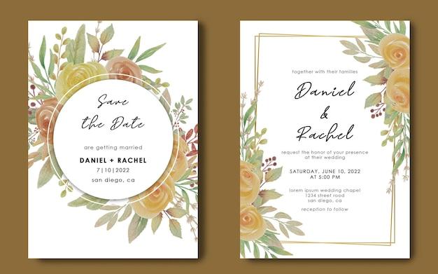 Modèle d'invitation de mariage avec cadre géométrique et bouquet de fleurs aquarelle