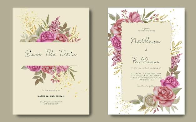 Modèle d'invitation de mariage avec décoration florale aquarelle