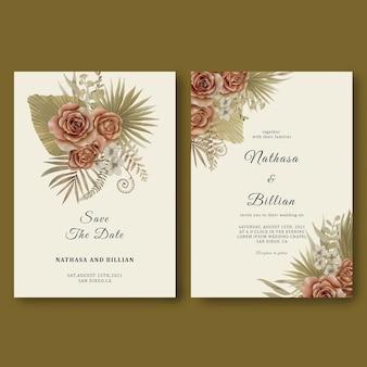 Modèle d'invitation de mariage avec des décorations de feuilles tropicales et des roses aquarelles