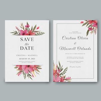 Modèle d'invitation de mariage avec des décorations florales aquarelles