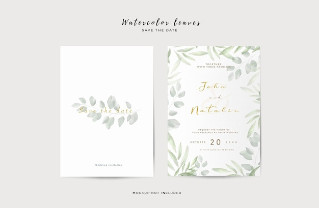 Modèle d'invitation de mariage élégant avec des feuilles d'aquarelle