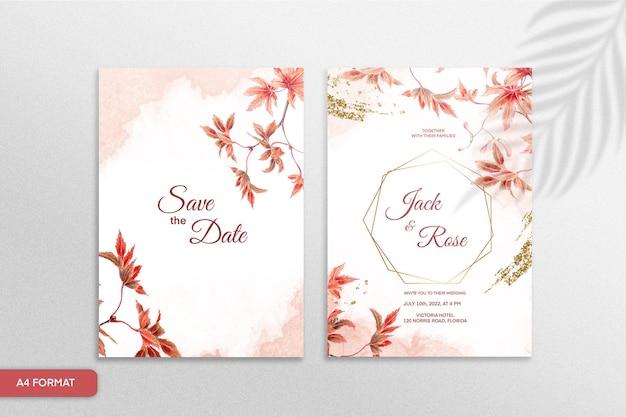 Modèle d'invitation de mariage avec fleur rouge