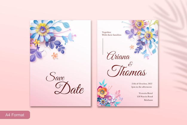 Modèle d'invitation de mariage avec fleur de style papier