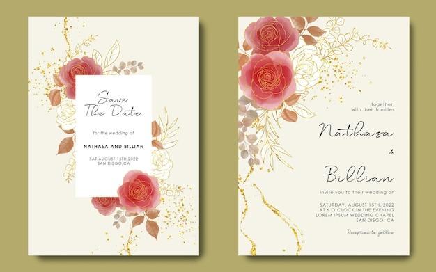 Modèle d'invitation de mariage avec des fleurs à l'aquarelle et fond d'or