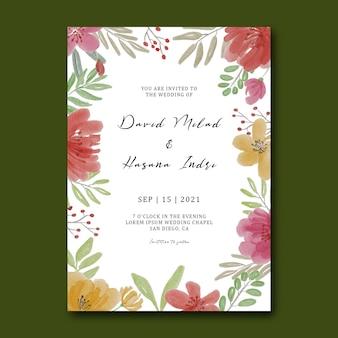 Modèle d'invitation de mariage avec des fleurs à l'aquarelle