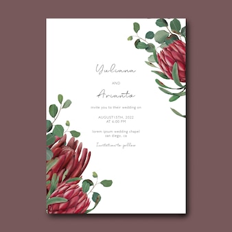Modèle d'invitation de mariage avec des fleurs dessinées à la main