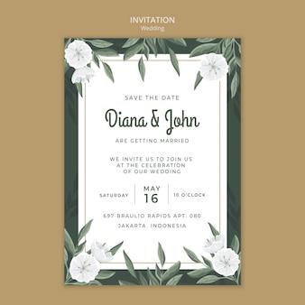 Modèle d'invitation de mariage avec des fleurs