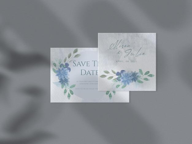 Modèle d'invitation de mariage floral défini des feuilles florales dessinées à la main maquette de papier de fond aquarelle