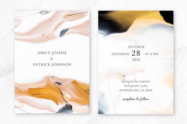 Modèle d'invitation de mariage en marbre psd dans un style esthétique