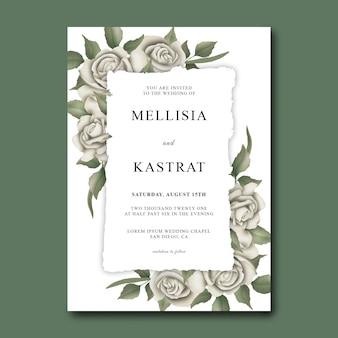 Modèle d'invitation de mariage avec des roses blanches aquarelles