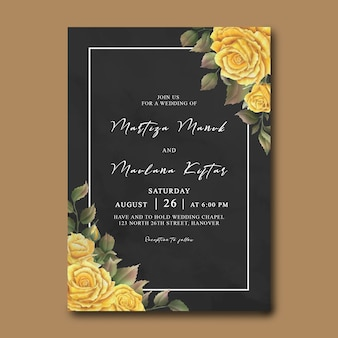 Modèle d'invitation de mariage avec des roses jaunes aquarelles