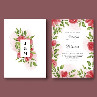 Modèle d'invitation de mariage sertie de belles roses aquarelles