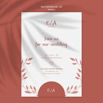 Modèle d'invitation simple et élégant pour le mariage