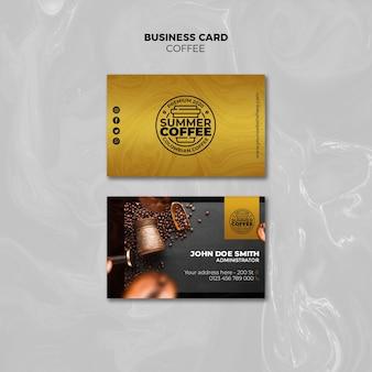 Modèle de jeu de carte de visite de café