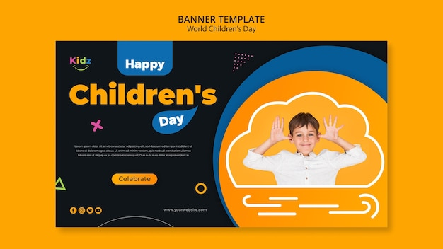 Modèle de jour de bannière pour enfants