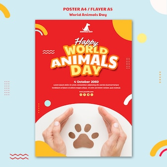 Modèle de journée mondiale des animaux flyer