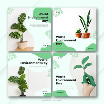 Modèle de journée mondiale de l'environnement du bundle instagram post