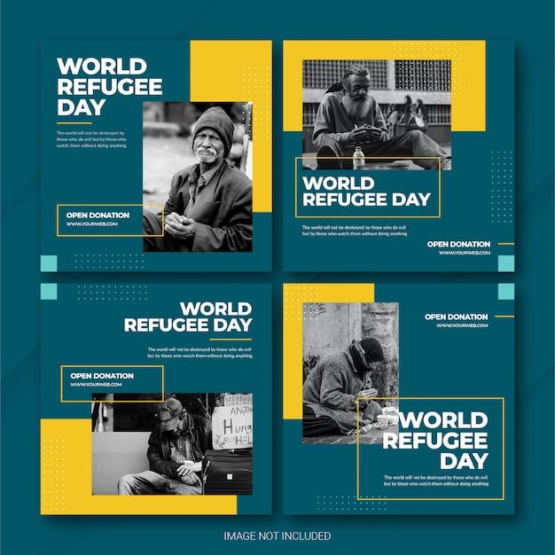 Modèle de journée mondiale des réfugiés sur le bundle instagram post