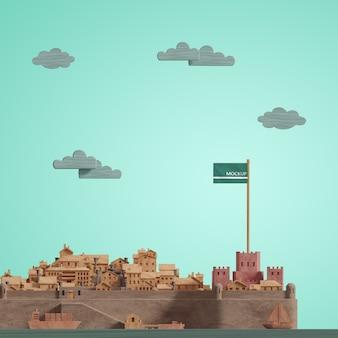 Modèle de journée mondiale des villes 3d avec maquette