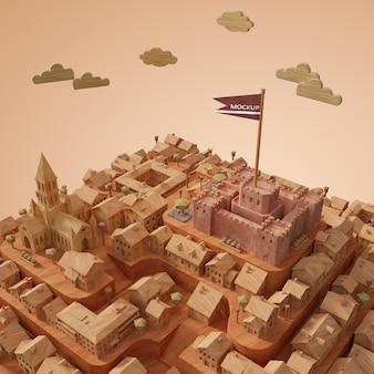 Modèle de journée mondiale des villes 3d