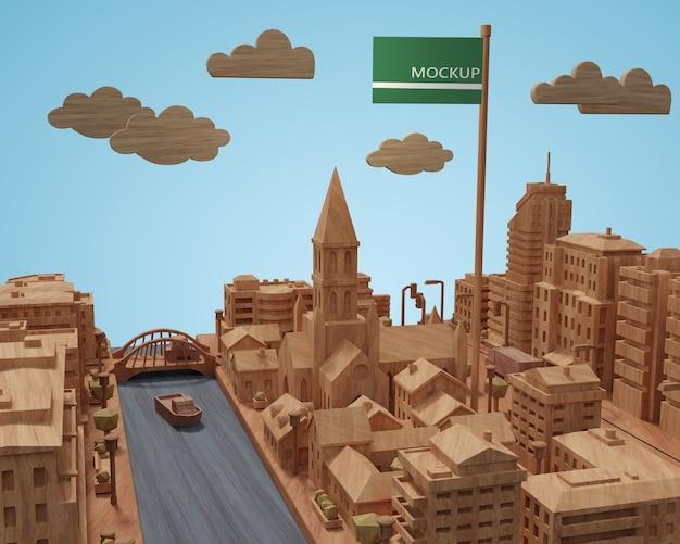 Modèle de journée mondiale des villes avec maquette