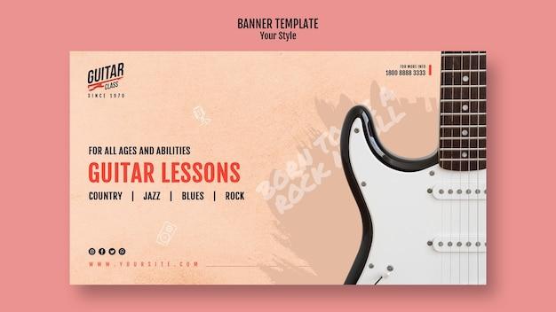 Modèle de leçons de guitare de bannière