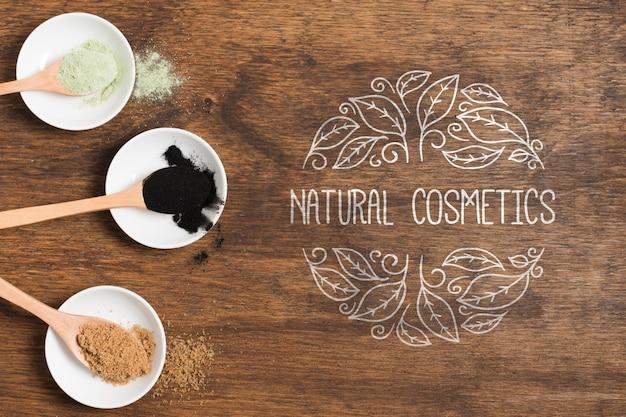 Modèle de logo de cosmétiques naturels vue de dessus