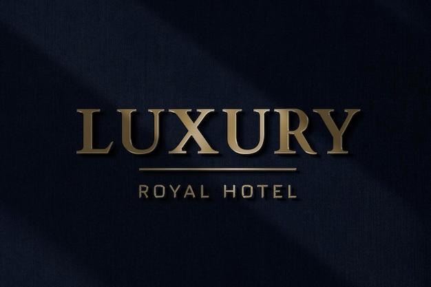 Modèle de logo d'hôtel de luxe psd en effet de texte en feuille d'or