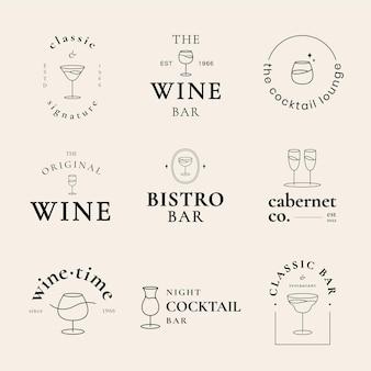 Modèle de logo de salon de cocktail psd avec un ensemble d'illustrations de verre à cocktail minimal