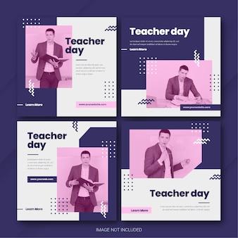Modèle de lot de publications instagram pour la journée des enseignants