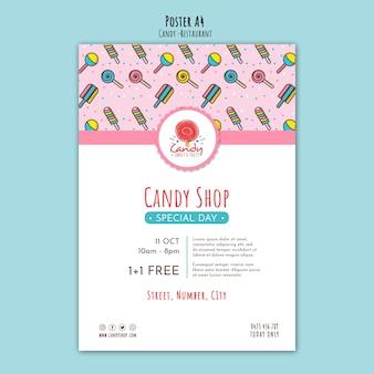 Modèle de magasin de bonbons pour affiche